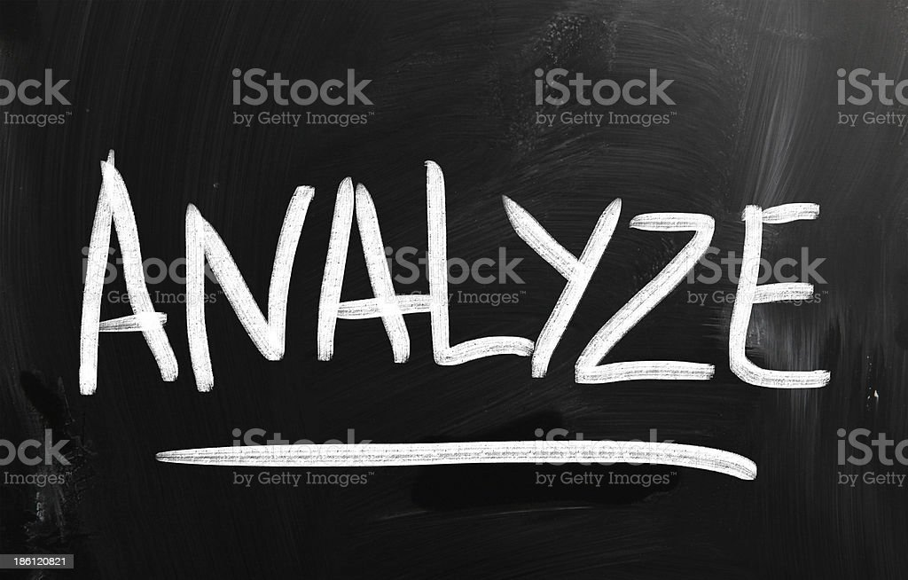 'Analyze' handwritten with white chalk on a blackboard royalty-free stock photo