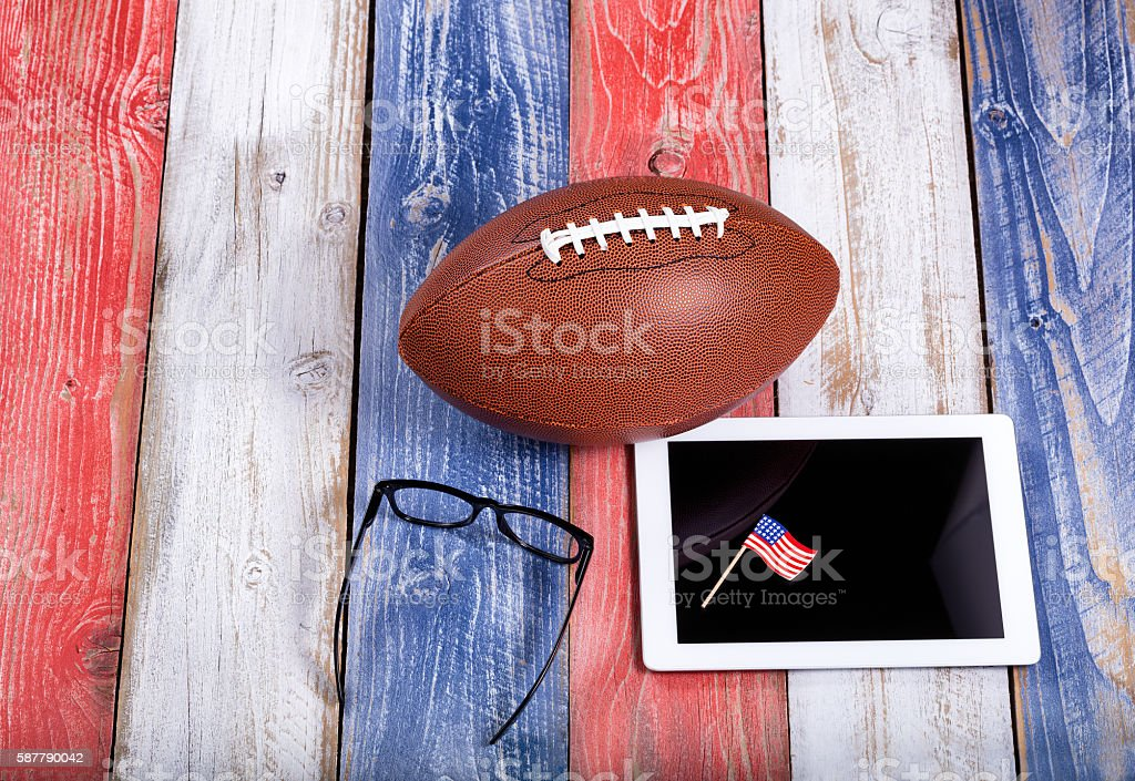 Analyzing American football game with computer technology stock photo