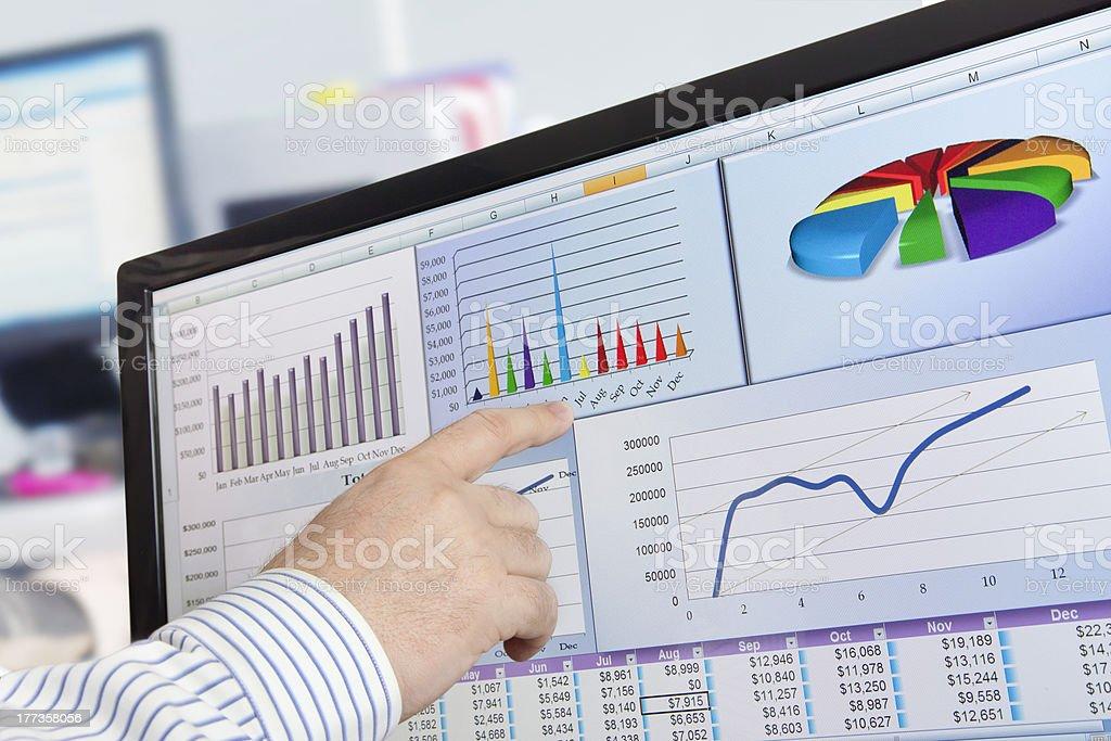 Analyzing Data on Computer stock photo