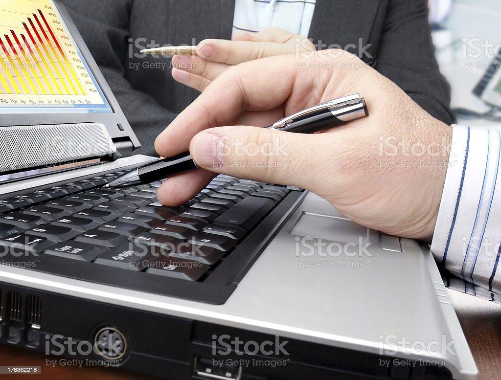 Analyzing Data on Computer royalty-free stock photo