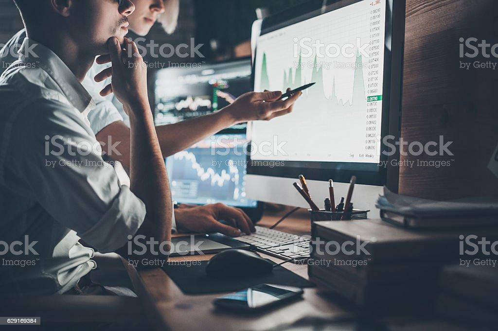 Analyzing data. stock photo