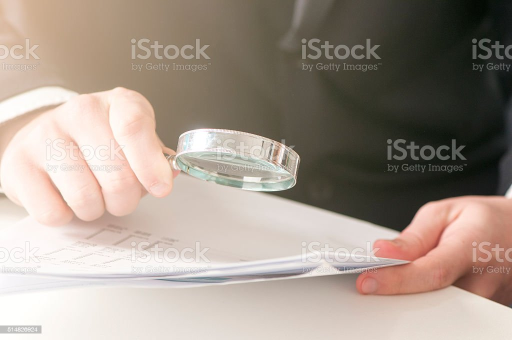 Analyzing documents in the Office stock photo