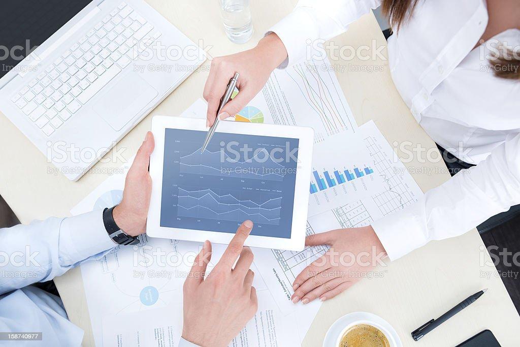 Analyzing financial chart stock photo