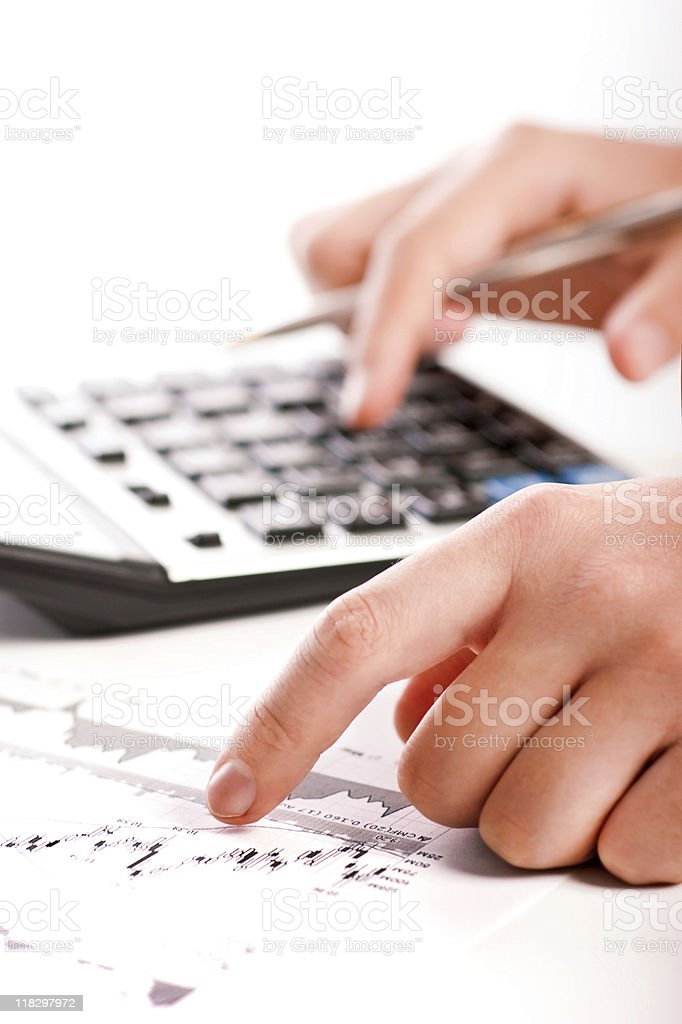 Analyzing financial data royalty-free stock photo
