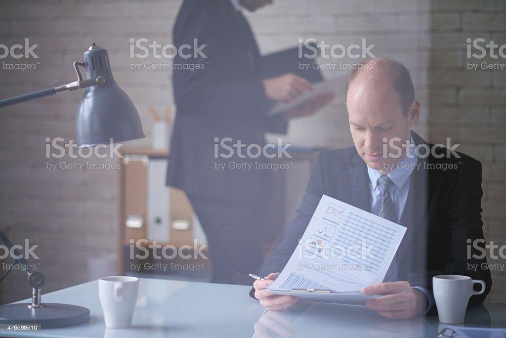 Analyzing financial data stock photo