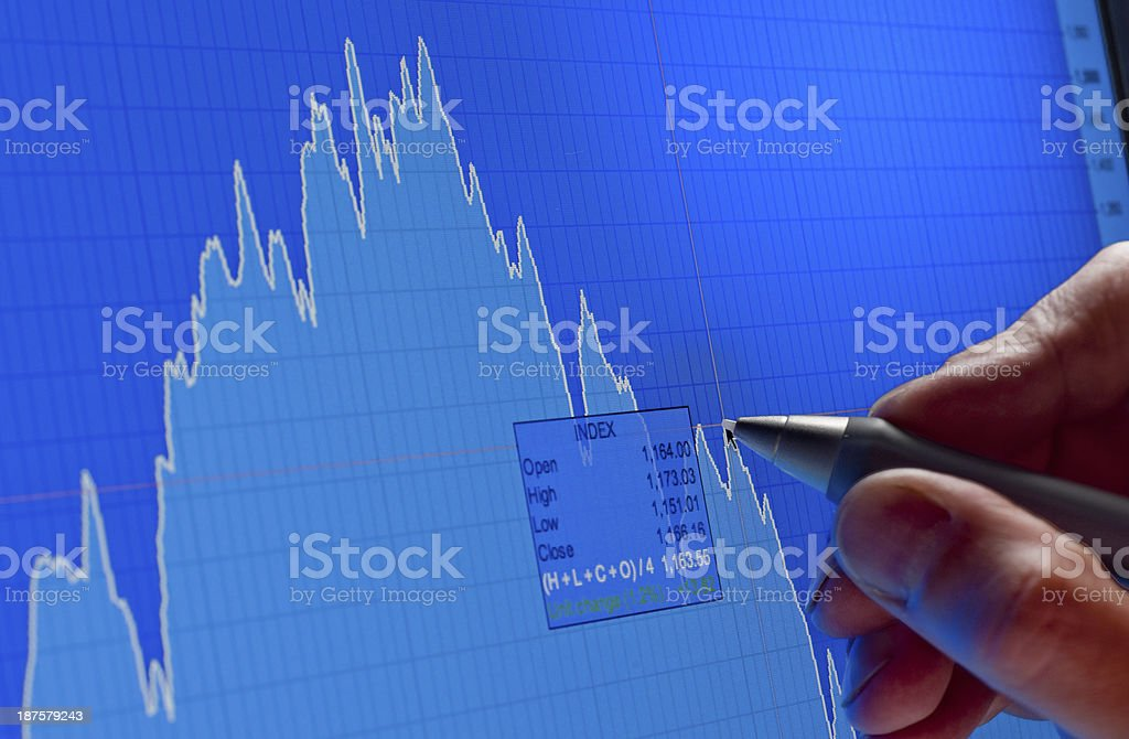 Analyzing financial market flow chart royalty-free stock photo
