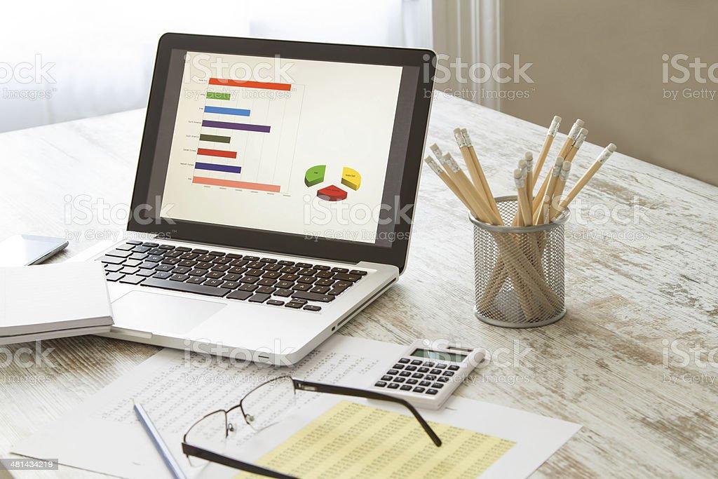 Analyzing graphics stock photo