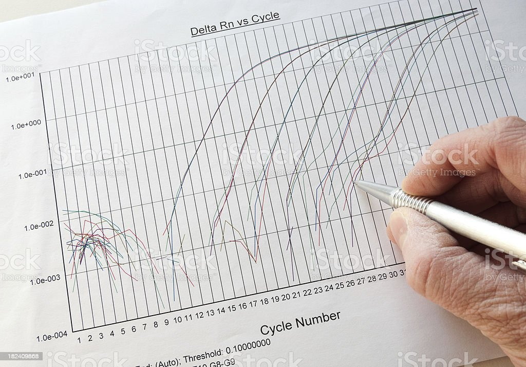 Analyzing real time PCR results stock photo