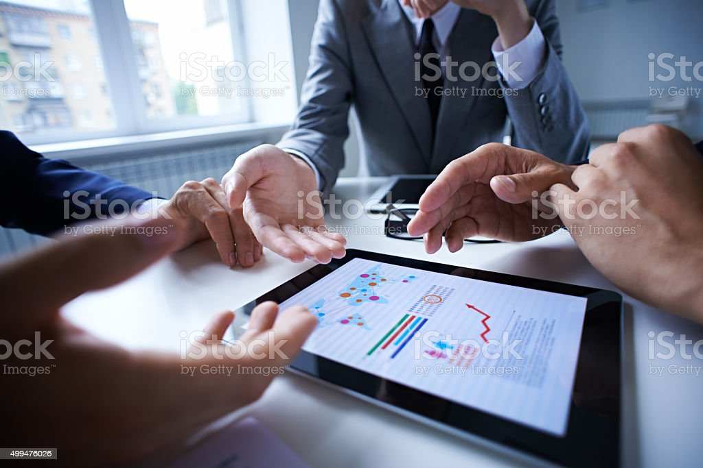 Analyzing report stock photo