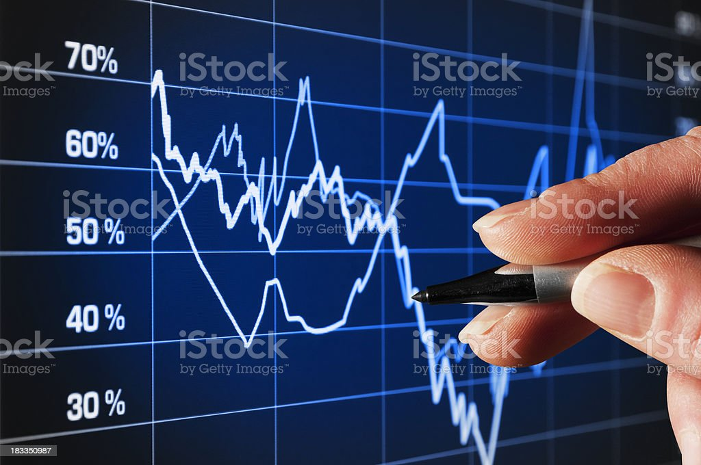 Analyzing trends in business performance stock photo