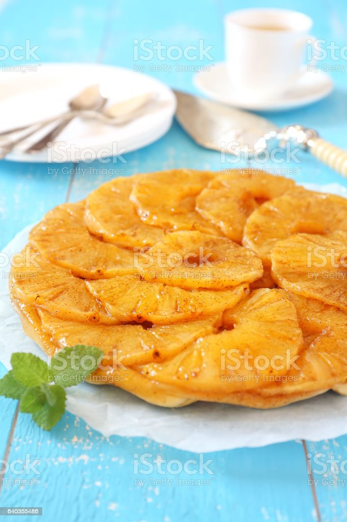 Ananas pie and cup of tea stock photo