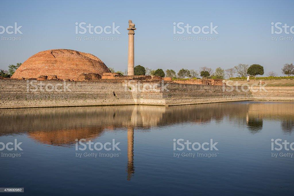 Ananda Stupa and Ashoka pillar stock photo