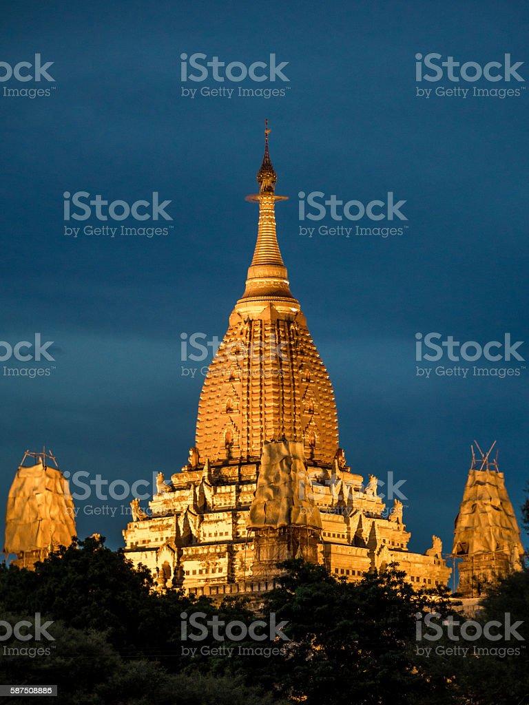 Ananda Temple in Bagan, Myanmar at night stock photo