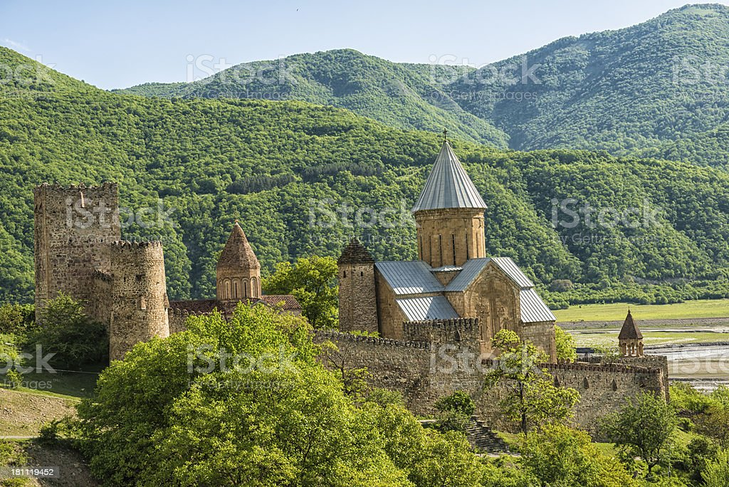Ananuri Church and Fortress with Mountains in the Background stock photo