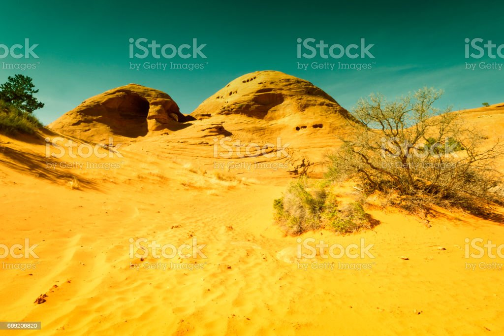 Anasazi dwelling site in Mystery Valley stock photo