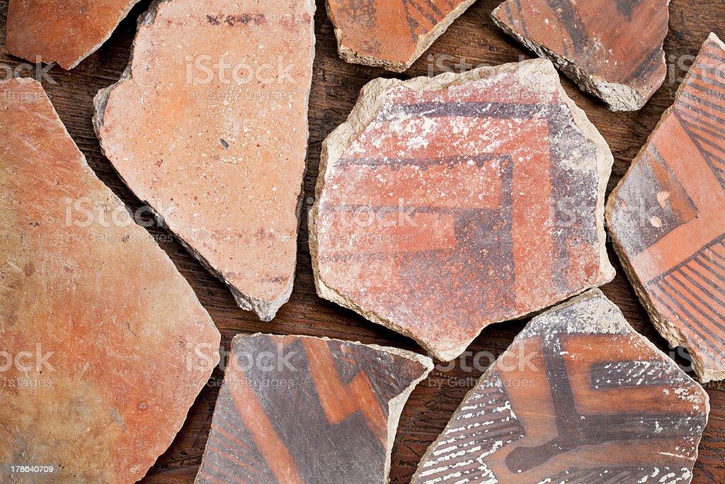 Anasazi Indian pottery artifacts stock photo