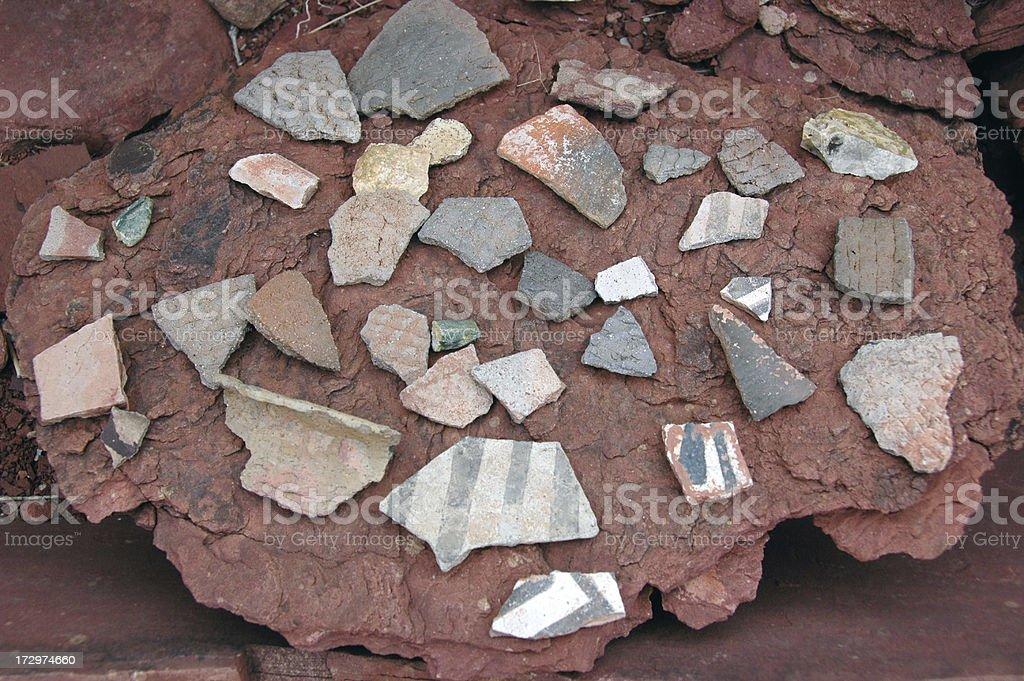 Anasazi Indian Pottery Shards royalty-free stock photo