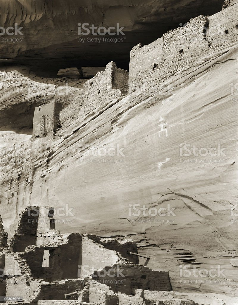 Anasazi Petroglyphs and Ruins, Canyon de Chelley National Monument royalty-free stock photo