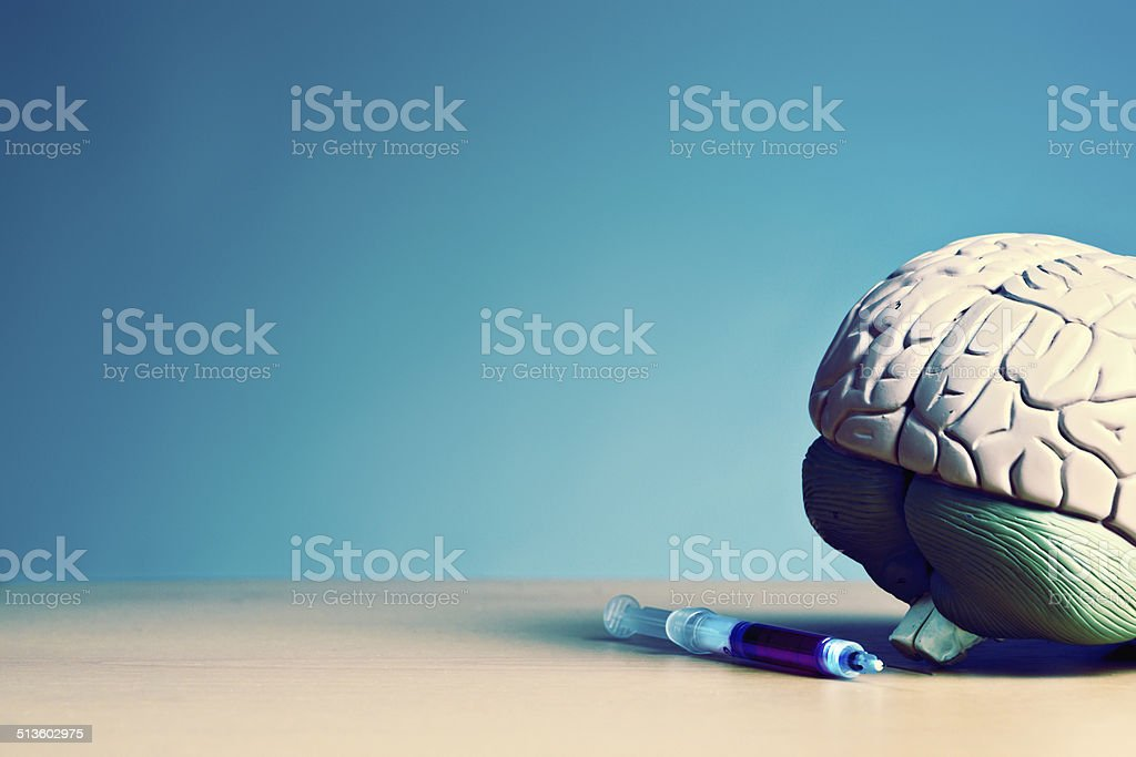 Anatomical model of human brain with hypodermic syringe stock photo