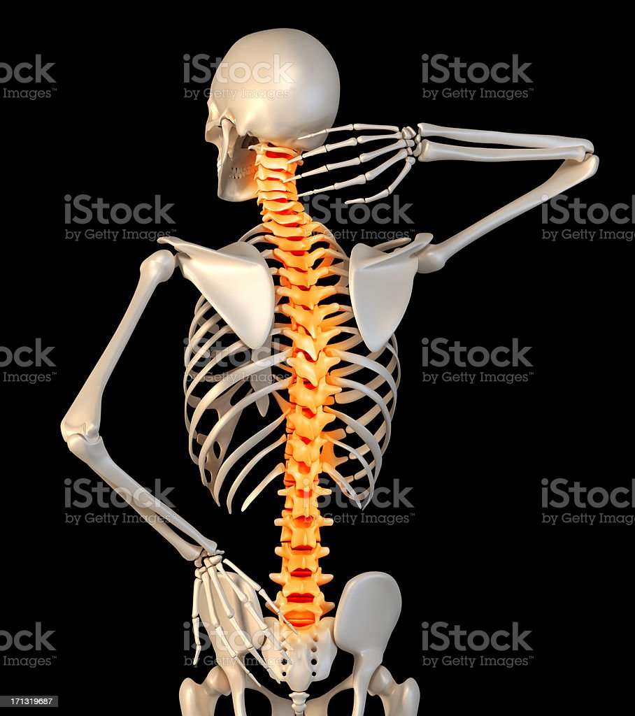 Anatomy of a man showing back pain stock photo