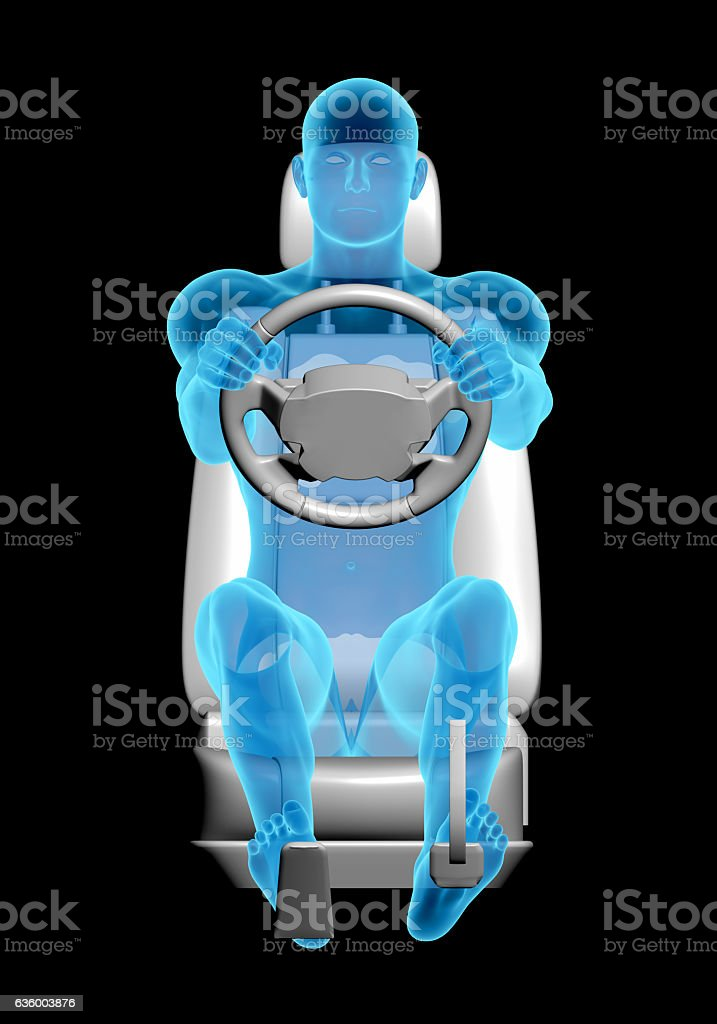 Anatomy of the human body at the wheel driving vector art illustration