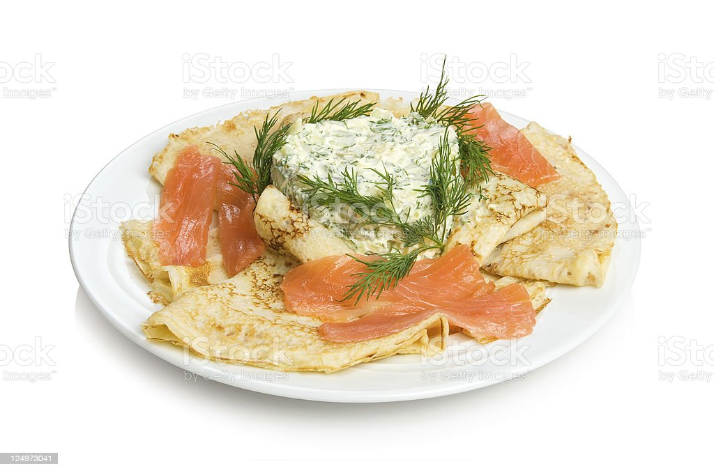 ?ancakes with salmon and salad royalty-free stock photo