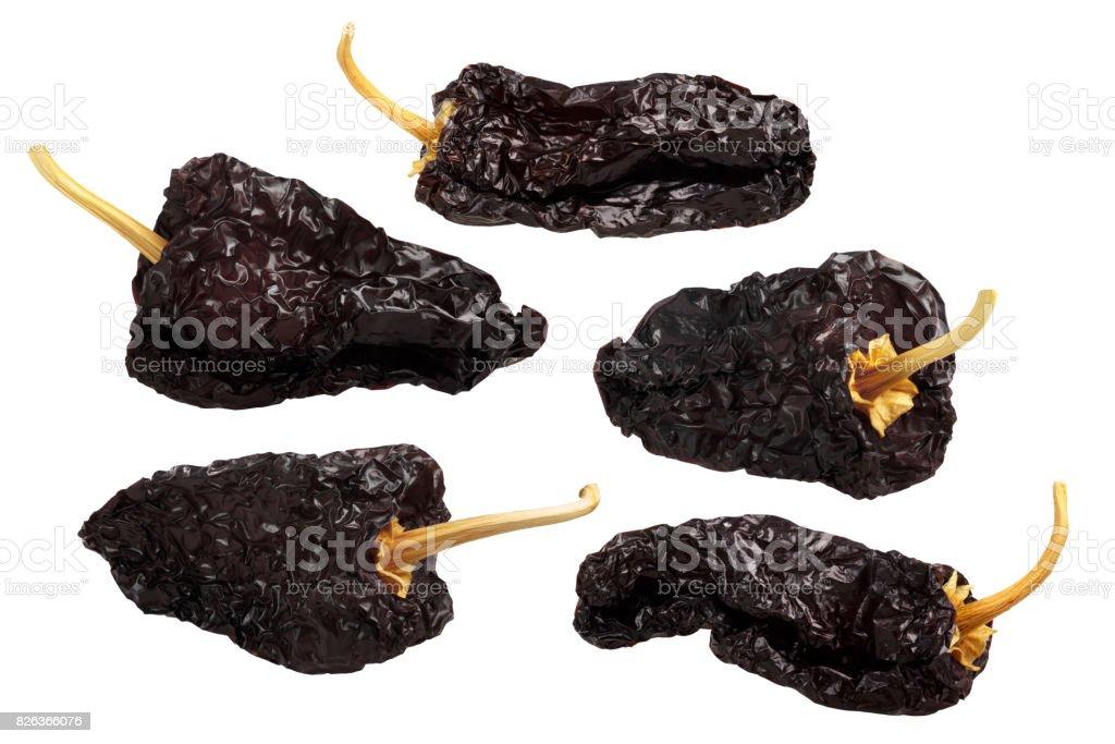 Ancho mulato-dried Poblano chiles, paths stock photo