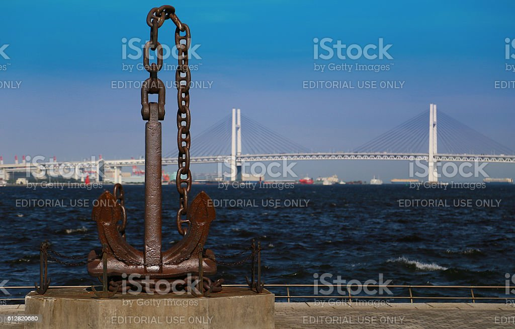 anchor and bridge of Yokohama Port foto de stock libre de derechos