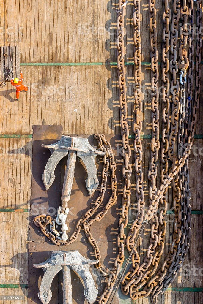 Anchor and chain on a ship deck stock photo
