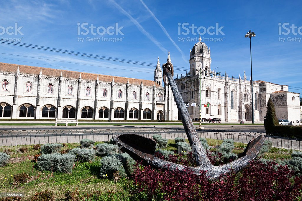 Anchor and Jeronimos monastery in Lisbon Portugal stock photo