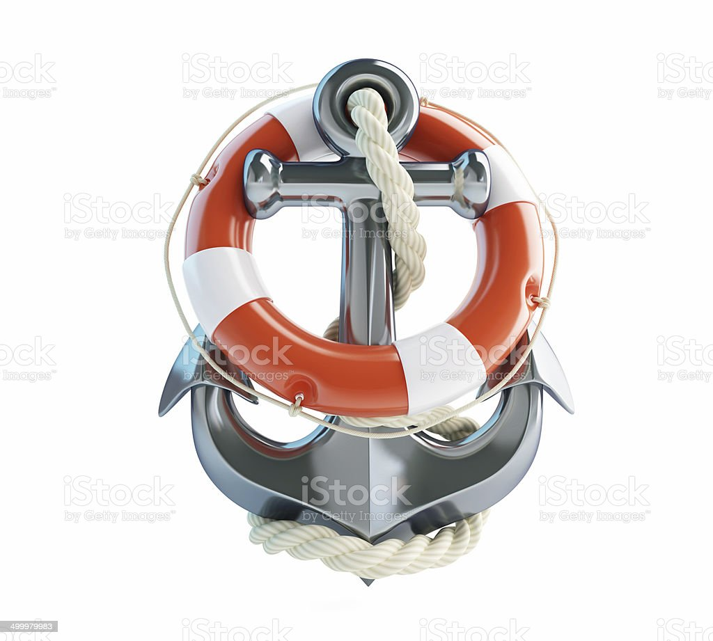 anchor and Life Buoy on a white background royalty-free stock photo