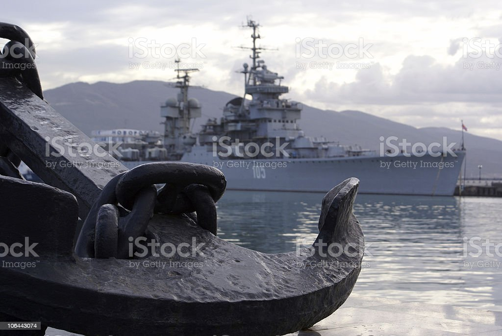 Anchor and ship royalty-free stock photo