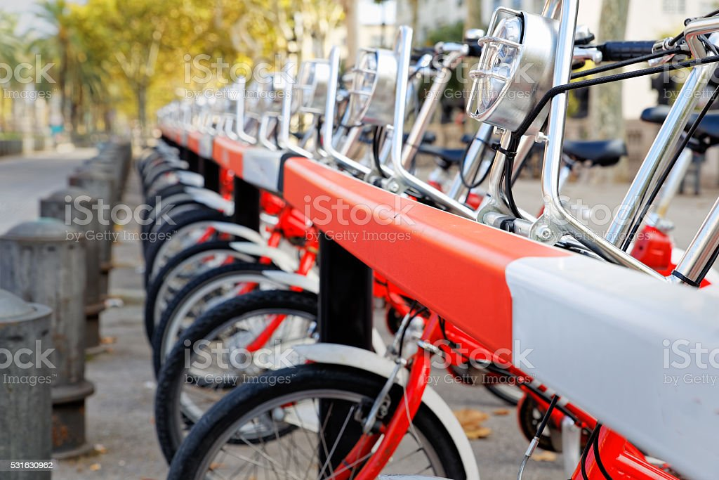 Anchor bar for bikes for rent stock photo