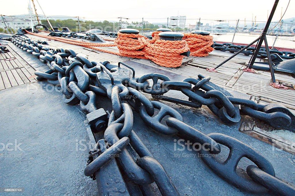 Anchor chain on ship deck stock photo