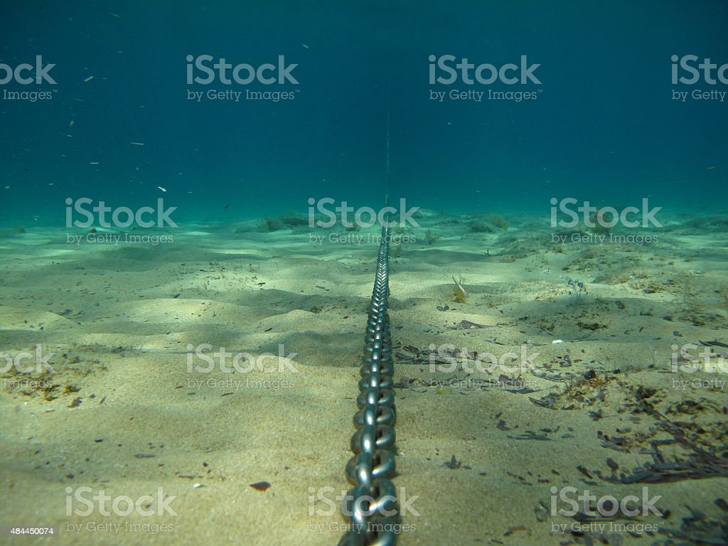 Anchor Chain Underwater stock photo