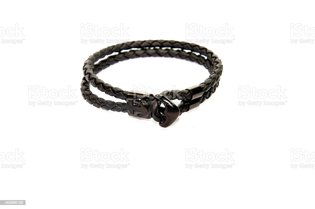 anchor figure black leather men bracelet stock photo