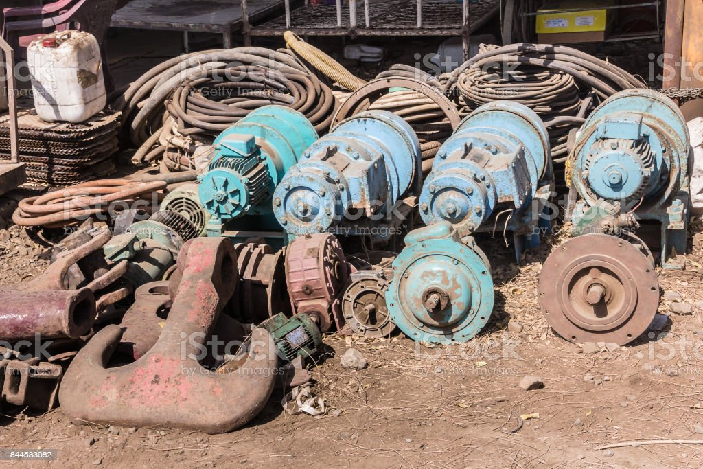 anchor for sale at Alang stock photo