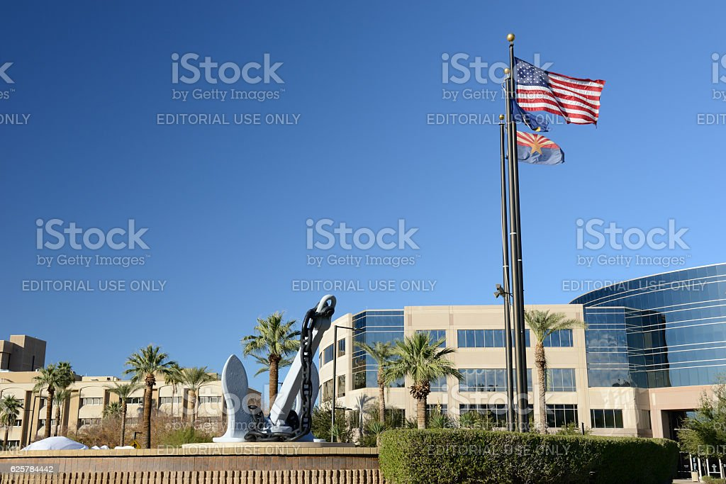 Anchor from USS Arizona on display stock photo