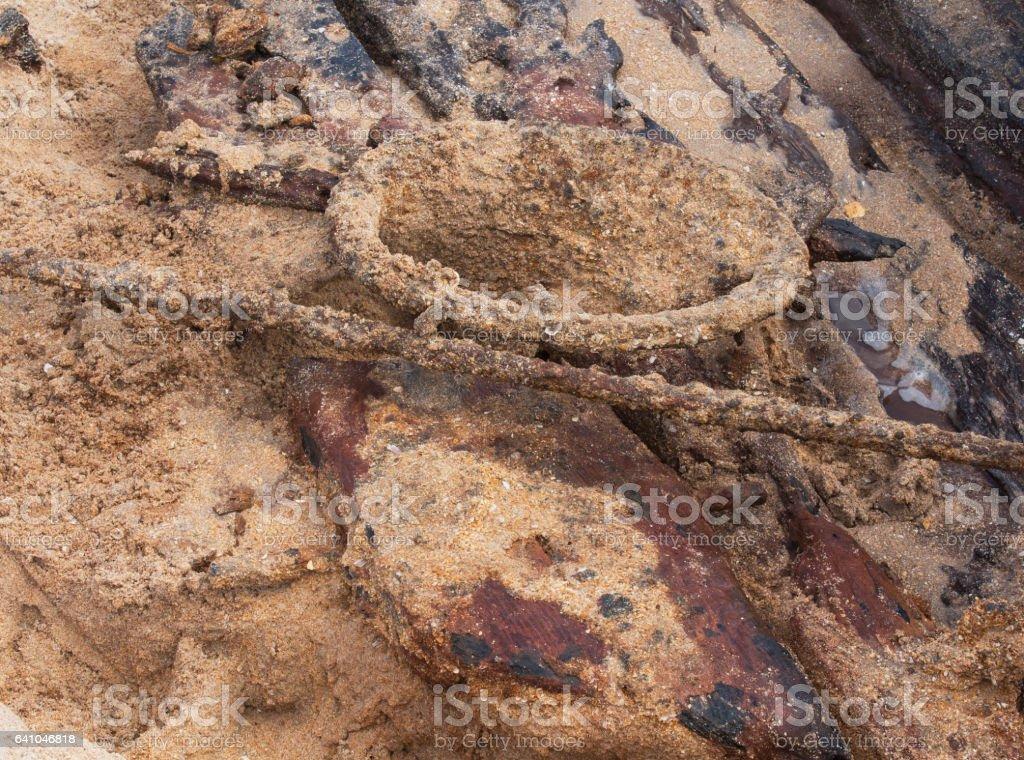 Anchor hole of Ship Wreck stock photo