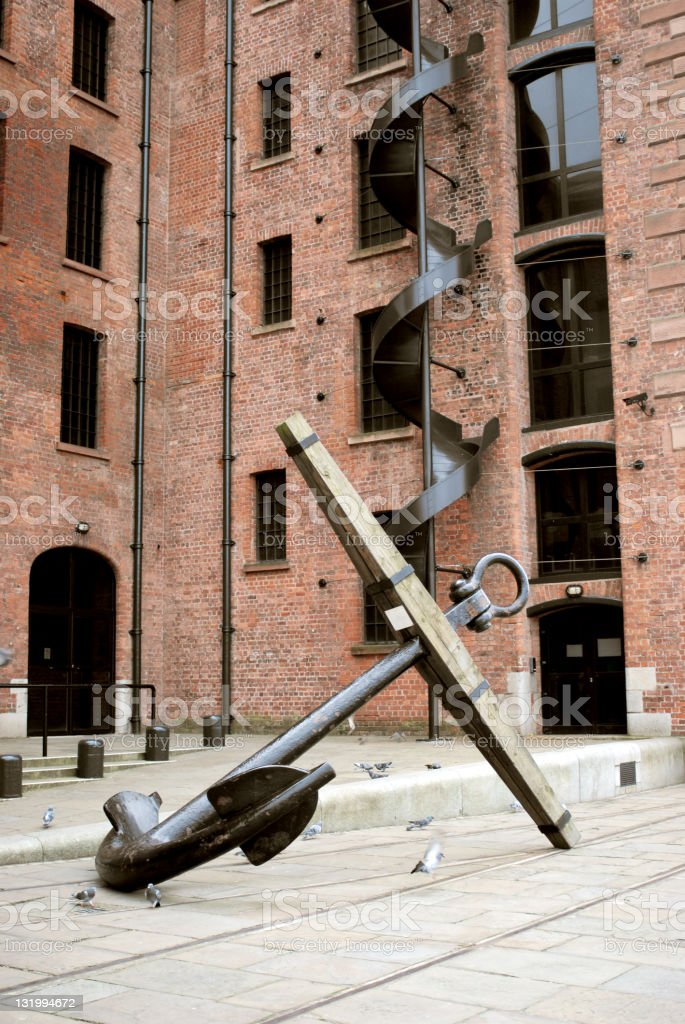Anchor in front of Liverpool Maritime Museum stock photo