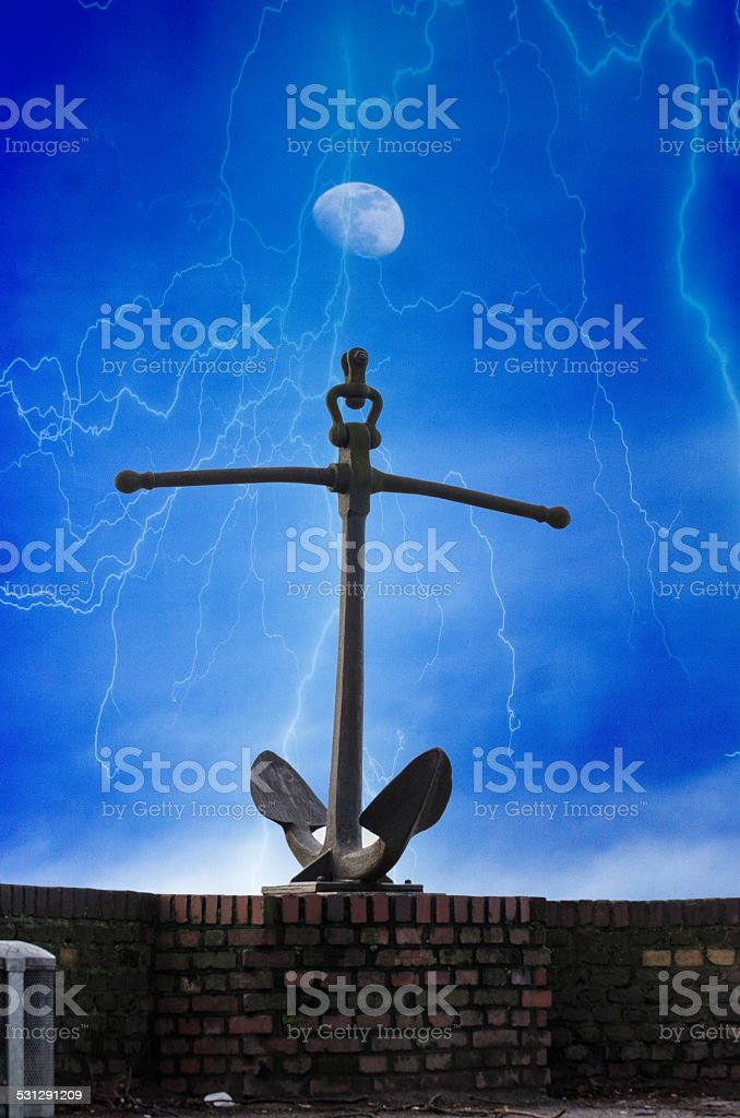 Anchor in the storm stock photo