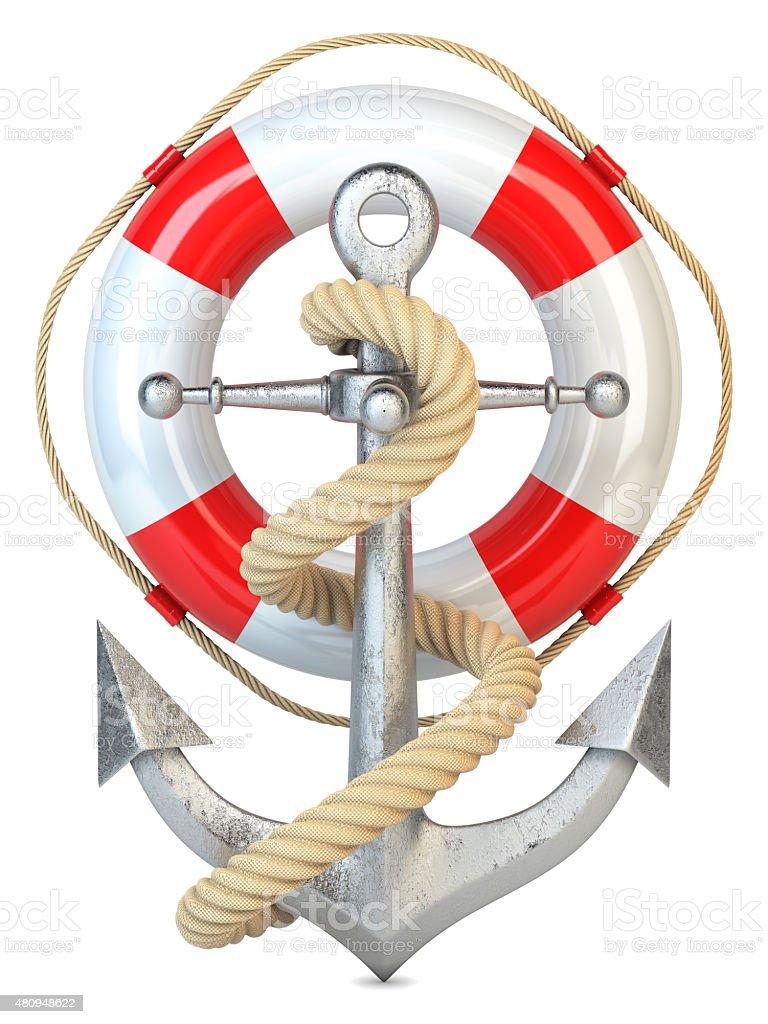 Anchor, lifebuoy and rope stock photo