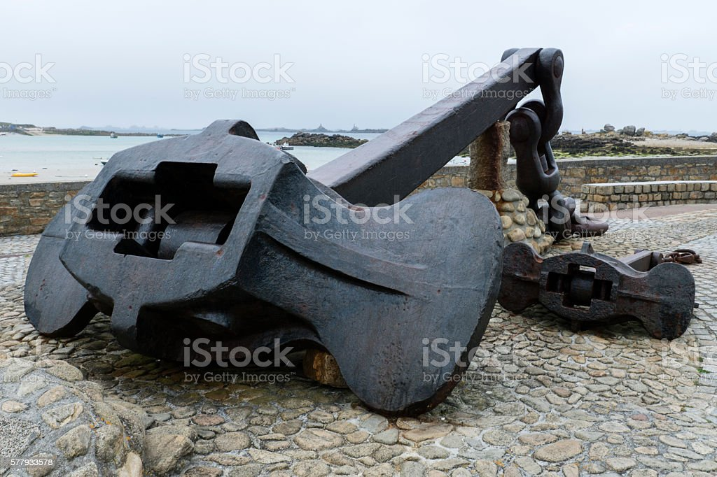 Anchor of the Amoco Cadiz oil tanker that ran aground stock photo