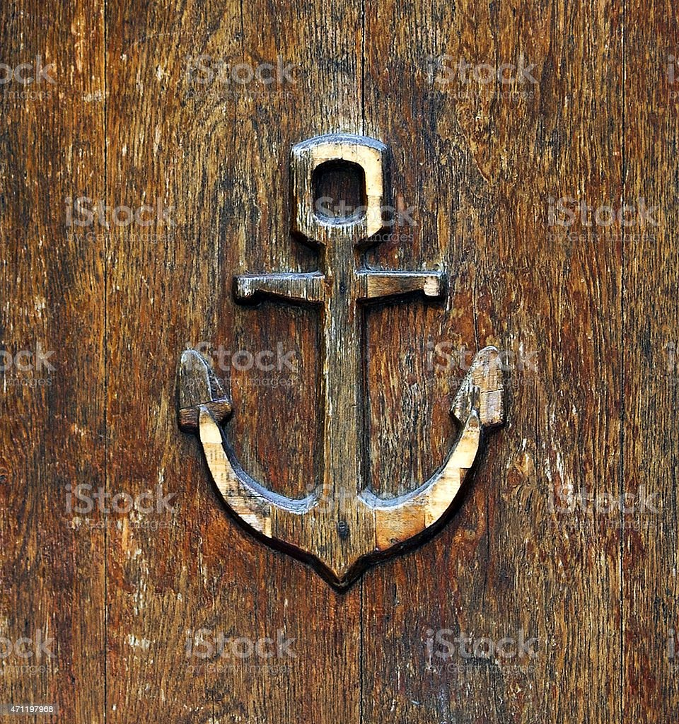 anchor old wooden stock photo