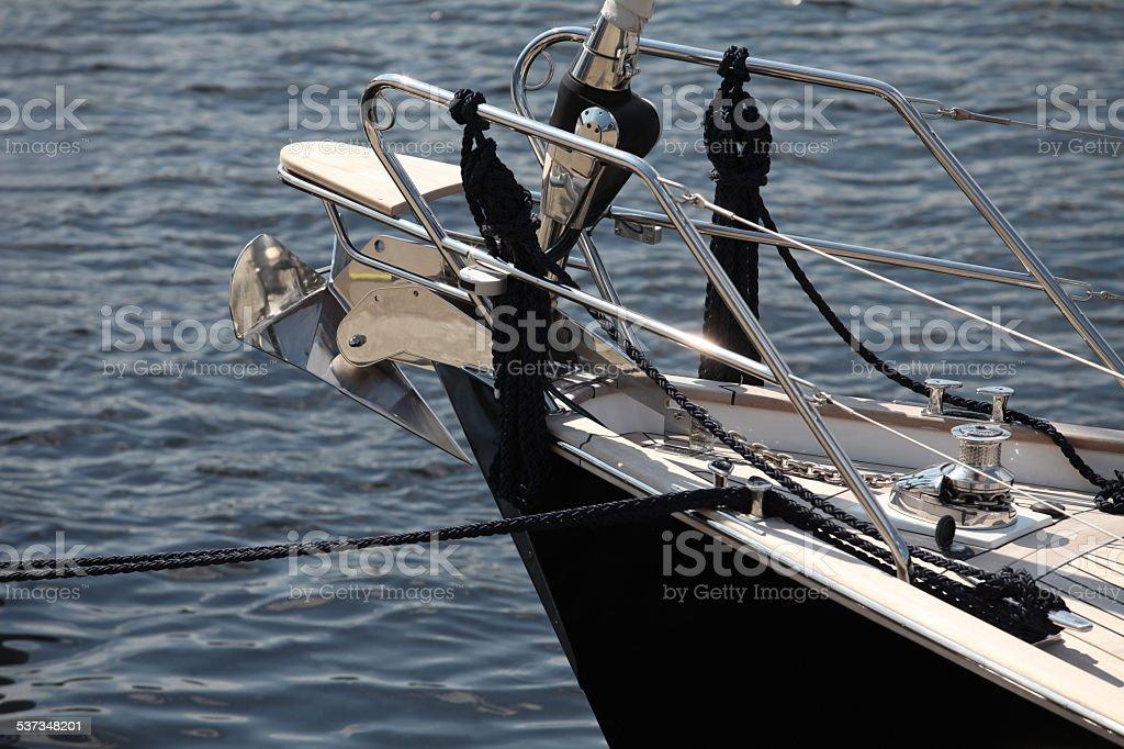 anchor on a sailing yacht stock photo
