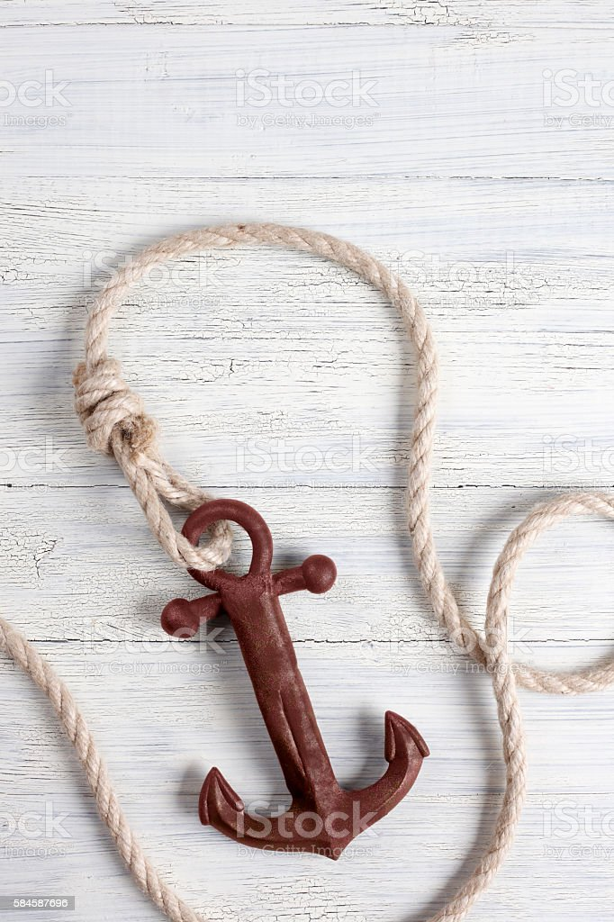 Anchor On Boat Deck stock photo