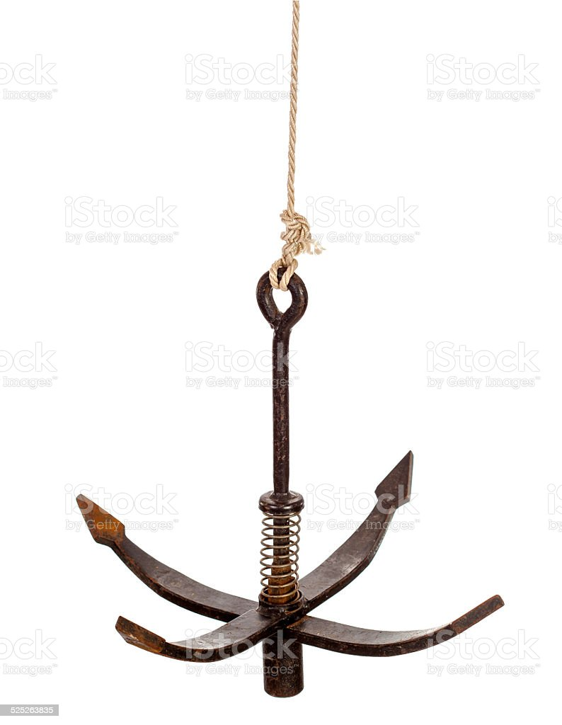 Anchor on rope isolated stock photo