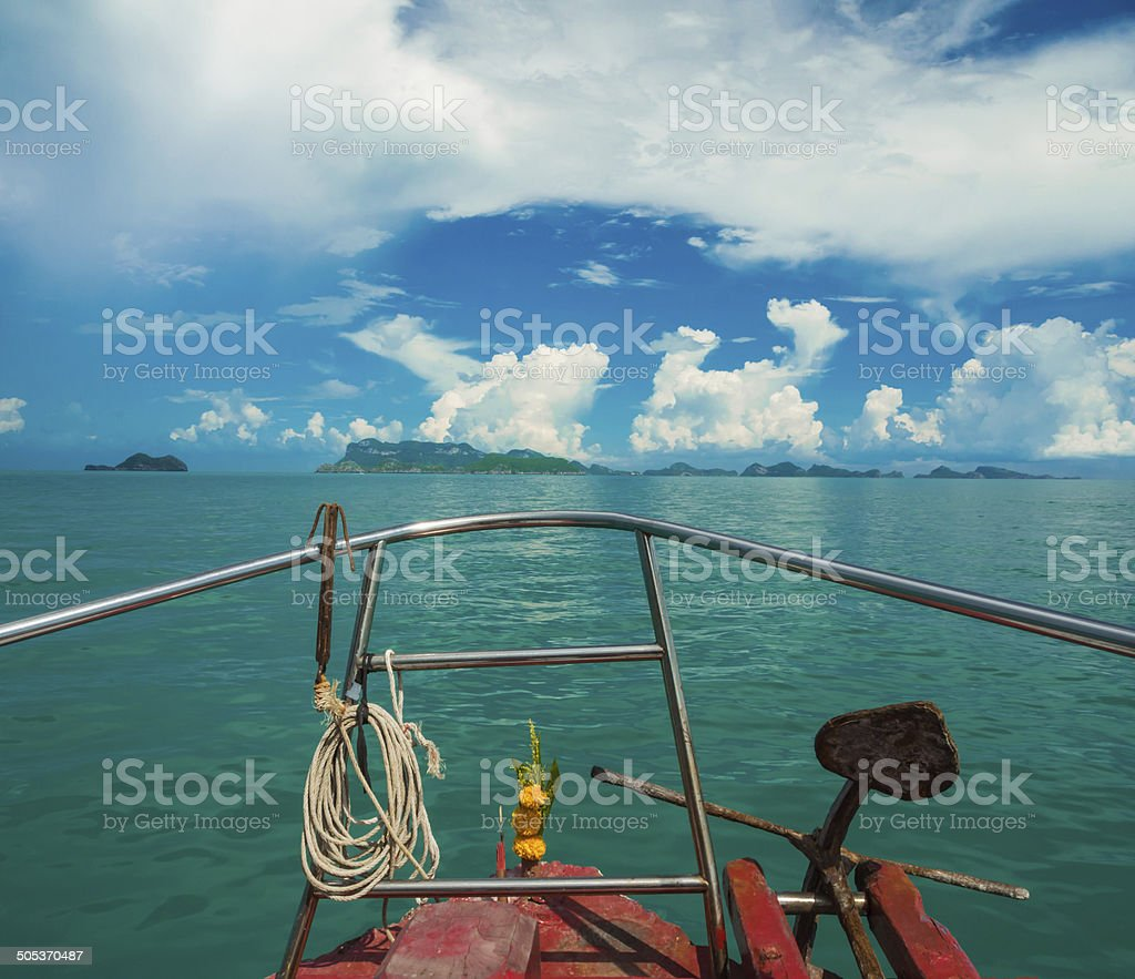 Anchor rope coil on bow of ferry heading to Samui royalty-free stock photo