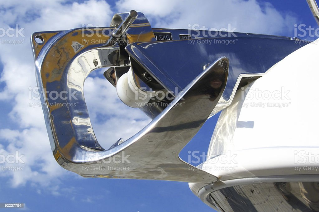 Anchor ship on sky background royalty-free stock photo