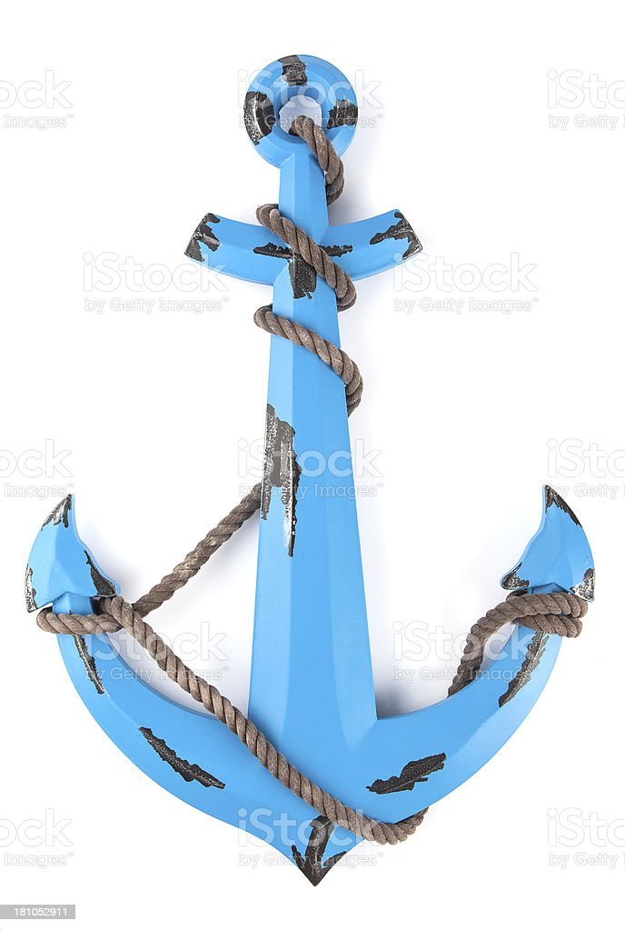 Anchor with a rope royalty-free stock photo